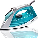 Hephaestus Steam Iron 1200 Watt Nonstick Teflon Soleplate Light Weight Small Travel Size Spray Self-Cleaning System 8 Feet Cord
