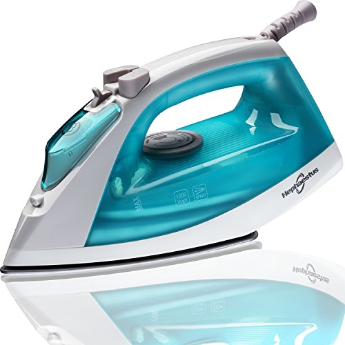Hephaestus Steam Iron 1200 Watt Nonstick Teflon Soleplate Light Weight Small Travel Size Spray Self-Cleaning System with 8 Feet Cord by Hephaestus