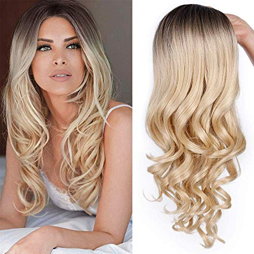 (Blonde Long Curly Wavy Wig Ombre Synthetic Wavy Wigs for Women Deep Roots Natural Looking Heat Resistant Fiber Wig 2 Tone Blonde Middle Parting Full Wigs for Grils (26inch/ Brown)