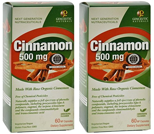 - Genceutics QAI Certified Organic Cinnamon 500mg (Pack of 2) Advanced Bio-Active Plant Compound* Organic Cinnamon Free of Chemical Pesticides, Fungicides and Synthetic Fertilizers, 60 Capsules Each
