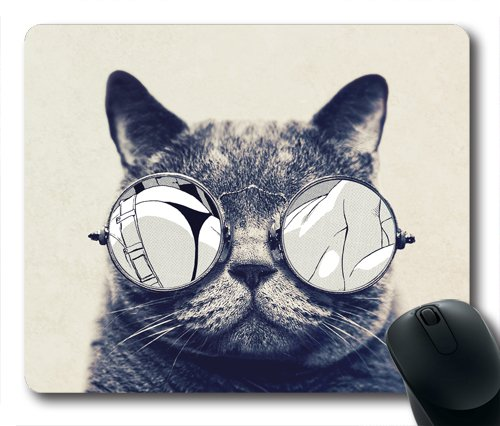 Hippies Style Glass Wearing Cat Oblong Shaped Mouse Pad - Glasses Popular Styles