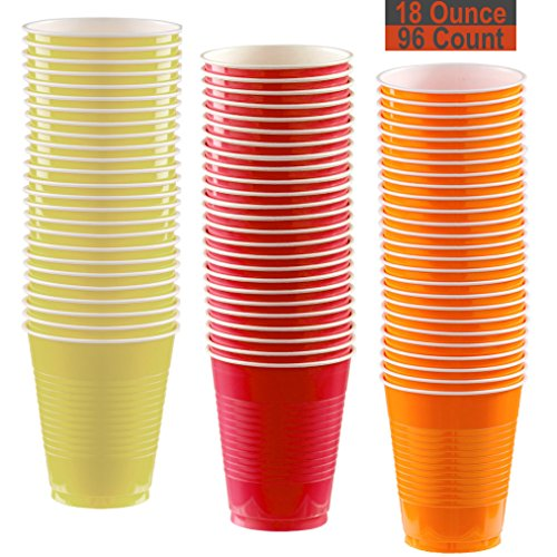 18 oz Party Cups, 96 Count - Light Yellow, Red, Pumpkin Orange - 32 Each -
