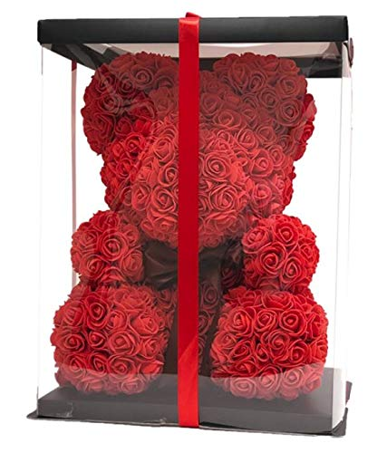 - WAIST SHAPERZ FleurAmore Rose Flower Bear - 16 Inches Tall - Over 500+ Flowers on Every Rose Bear - Perfect for Anniversary's, Birthdays, Bridal Showers, Mothers Day, Etc. - Clear Gift Box Included!