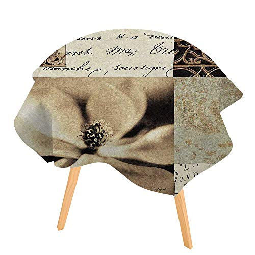 (PINAFORE Printed Tablecloth Flaxen Silhouette by Aparicio Modern Printed Spill Proof Cloth Round Tablecloths 35.5