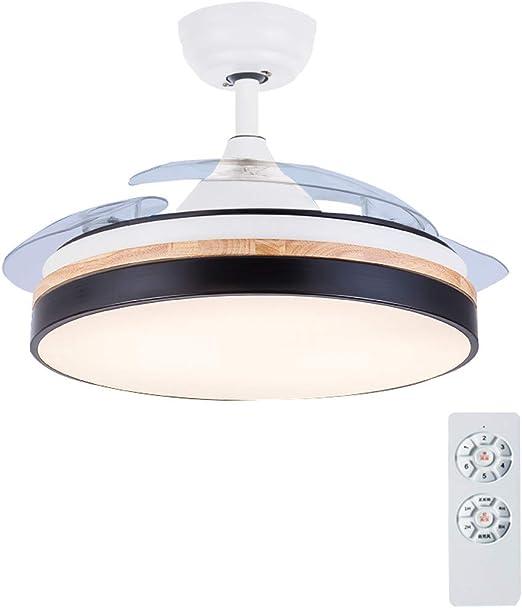 YX Ceiling Fans Lámpara de techo LED regulable con luz de ventilador de techo con función inversa Aspas retráctiles invisibles y control remoto, Motor silencioso, para sala de estar Dormitorio Resta: Amazon.es: