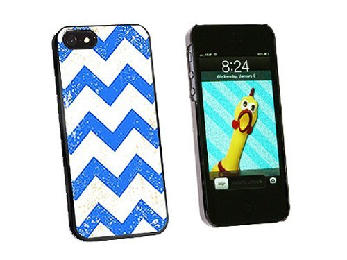 Graphics and More Vintage Chevrons Blue Snap-On Hard Protective Case for iPhone 5/5s - Non-Retail Packaging - Black