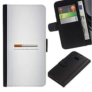LECELL--Cuero de la tarjeta la carpeta del tirón Smartphone Slots Protección Holder For HTC One M8 -- Butt fumadores - Gracioso --