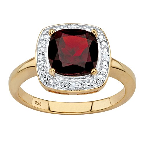 Genuine Cushion-Cut Red Garnet Diamond Accent 14k Gold over .925 Silver Halo Ring