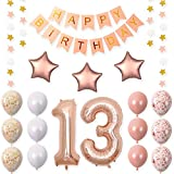 40 inch 13 Rose Gold Foil Balloons for 13th Birthday Party Decorations Supplies,Rose Gold Hang Happy BirthdayBalloons Banner, Number 13 Balloons,Gold Confetti Balloons.