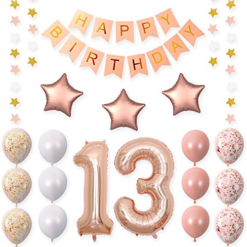 CUEA 40 Inch 13 Rose Gold Foil Balloons for 13th Birthday Party Decorations Supplies,Rose Gold Hang Happy BirthdayBalloons Banner, Number 13 Balloons,Gold Confetti Balloons.
