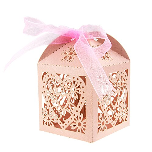 (KMALL 50PCS Laser Cut Pink Heart Wedding Gift Box Wedding Party Favor Candy Boxes 7.5 * 4.8 * 4.8cm)