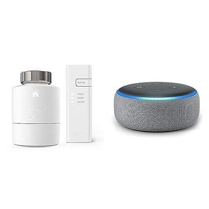 Echo Dot gris oscuro + tado° Cabezales Termostáticos Inteligentes Kit de Inicio V3+ - Control