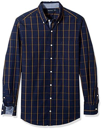 Windowpane Plaid Shirt (Nautica Men's Standard Long Sleeve Windowpane Plaid Button Down Shirt, Maritime Navy, X-Large)