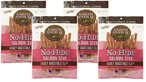 Earth Animal 40 Count No-Hide Salmon Stix (4 Packages with 10 Stix Each)