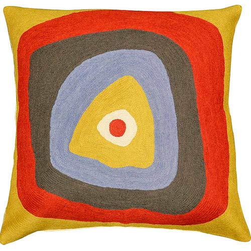 Kashmir Designs Kandinsky Pillow Cover Ruby Square Needlepoint Hand Embroidered Wool 18x18