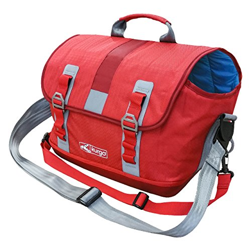 Kurgo Dog Carrier Backpack for Small Pets – Dogs Cats TSA Airline Approved Cat Hiking or Travel Waterproof Bottom G-Train K9 Ruck Sack Red Grey