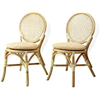 Set of 2 Denver Dining Armless Accent Side Chair Handmade Rattan Wicker Furniture White Wash