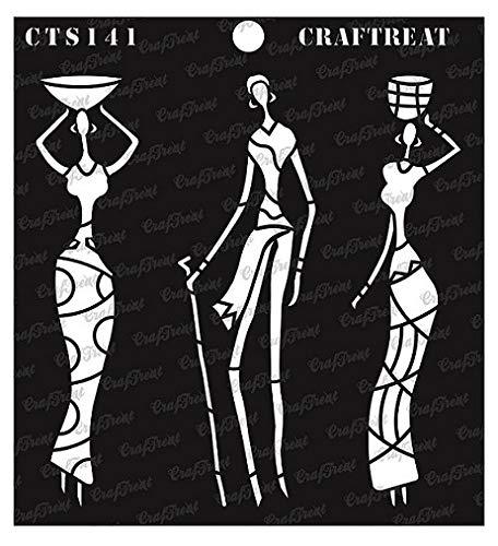 Craftreat Tribal Family ステンシル 6インチ x 6インチ   B07HRMF9YW