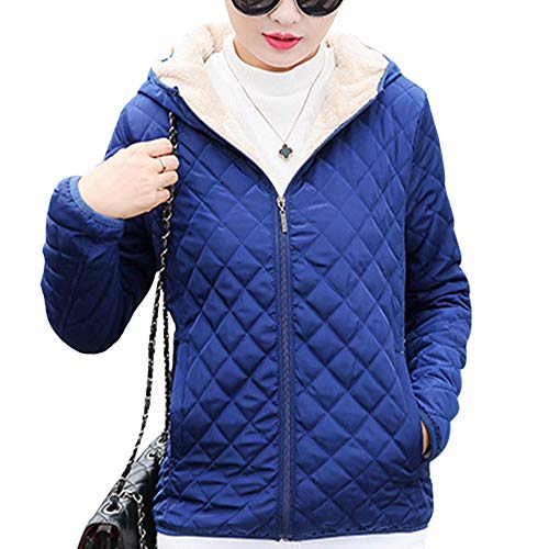 Hooded Fleece Slim Jacket Womens Outerwear Down Blue Quilted Coat Dark Thicken XFentech Jacket Warm Outdoor xYXRwHqqv