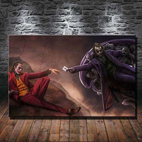 The Joker and Heath Ledger 1P Paintings Print on Canvas HD Canvas Painting Office Wall Art Home Decor Wall Pictures (12x18inch)
