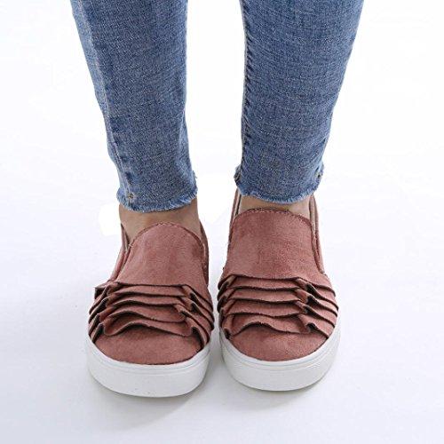 Zeppa Punta scarpe Casual Da In Rotondo Ginnastica Tonda Donna Vintage Floccate Tacco Somesun All'aperto Fondo Pizzo Argentate Piatto Con Rosa Spillo Pelle Ragazze 0wUdqO4x