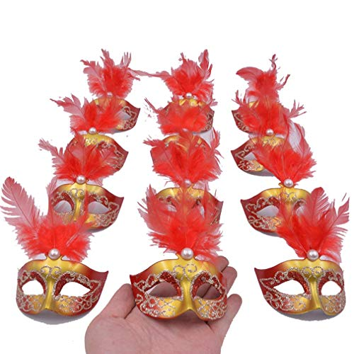 Yiseng 12pcs Luxury Pearl Feather Mini Masks Venetian Masquerade Party Decoration Novelty Gifts (red)