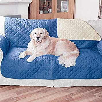 Protects from Spills Stains From Easylife Lifestyle Solutions|for 2 Seat Sofa in Blue//Beige Perfect for Young Family�s and Pet Owners Scuffs and Pet Hair Zipped Bag for Storage Reversible Water Repellent Furniture Protector Dirt