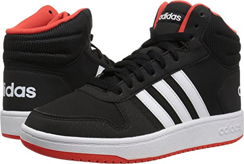 adidas Unisex Hoops Mid 2.0 Basketball Shoe, black/white/red, 1.5 Little Kid