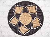 16'' X-Large African Basket- Dololo / Rwanda Basket / Woven Bowl / Sisal & Sweetgrass Basket / Black, Tan, White
