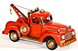 EliteTreasures Collectible Red Metal Rustic Pickup Tow Truck - Retro Chic Rustic Decor Charm - Vintage Look Style Toy - Industrial Decor - 10'' Farmhouse Red Truck Decor