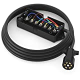 PWR+ Extra Long 7 Way Wire Harness Light Plug Inline Trailer Cord with 7 Gang Junction Box - Heavy Duty Weatherproof Corrosion Resistant