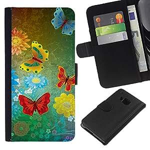 KingStore / Leather Etui en cuir / HTC One M7 / mariposas abstractas del grunge