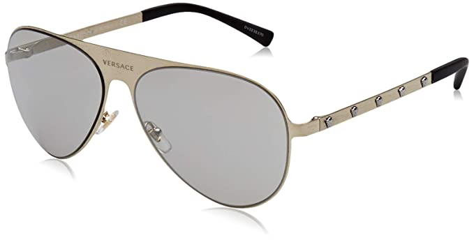 Versace 13396G Gafas de sol, Brushed Pale Gold, 59 Unisex ...