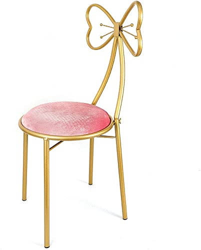Editors' Choice: DENESTUS Butterfly Bow Tie Pink Vanity Chair Velvet Cushion Metal Frame Lounge Dresser Seat