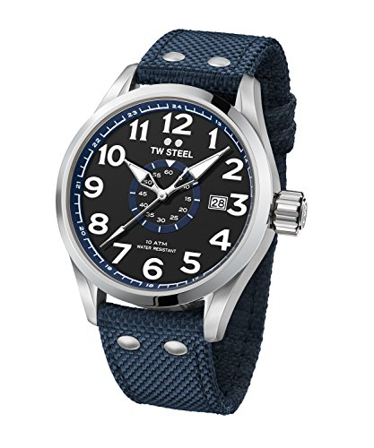 TW Steel Men's Volante Stainless Steel Japanese-Quartz Watch with Nylon Strap, Blue, 24 (Model: VS32)