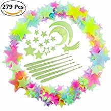 Luminous Sticker Glow in Dark Set of 279 for Kid's Room Wall Ceiling Decor Colorful Meteor Moon Cloud Fluorescent Stars