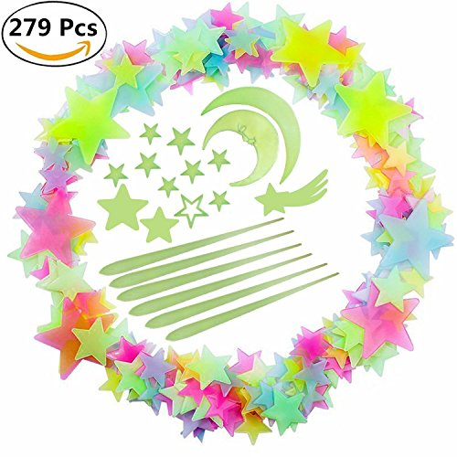 Luminous Sticker Glow in Dark Set of 279 for Kid's Room Wall Ceiling Decor Colorful Meteor Moon Cloud Fluorescent - Star Meteor