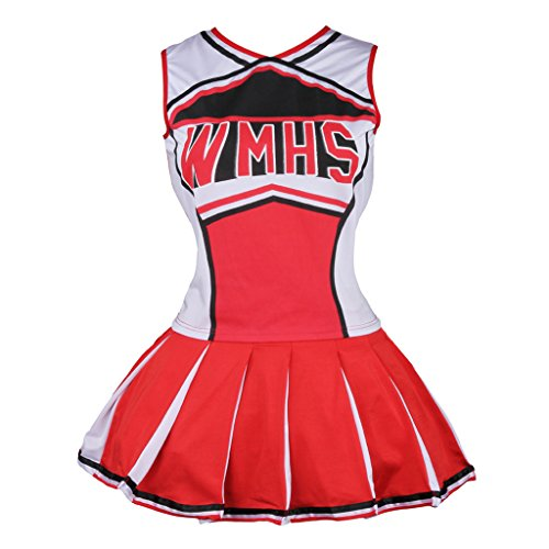 Colorful House Womens Cheerleader Costume Uniform Fancy Dress Red, US 10-12 (L) (Fancy Dress Costume)