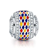 NinaQueen 925 Sterling Silver Diamond Shape Colorful Charms. Ideal Gift for Her