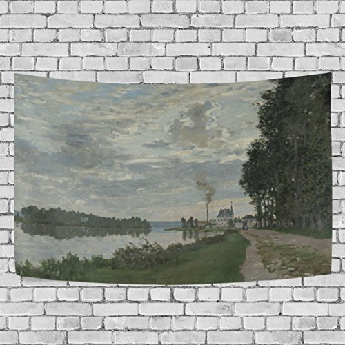 (WIHVE Large Tapestry Claude Monet The Promenade At Argenteuil Tapestry Wall Hanging Art Home Decor for Living Room Bedroom Bathroom Kitchen Dorm 90 x 60 Inches)