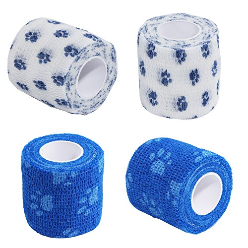 4Pcs Pet Bandage Cohesive Bandage Self Adhering Stick Bandage, Multi-Function Non-Woven Fabric Elasticity Gauze Rolls Self Adhering Stick Bandage Wrap Vet Tape for Pet Animals (White and Blue)