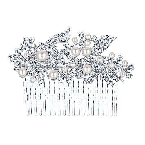 EVER FAITH Austrian Crystal Cream Simulated Pearl Flower Leaf Vine Hair Comb Clear Silver-Tone
