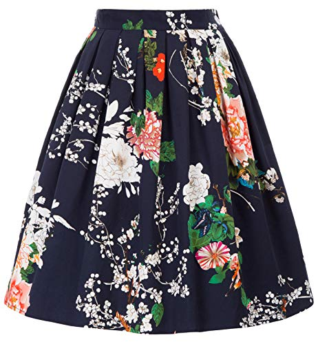 Vintage Floral Pleated Midi Skirt A-Line Size XL CL6294-31