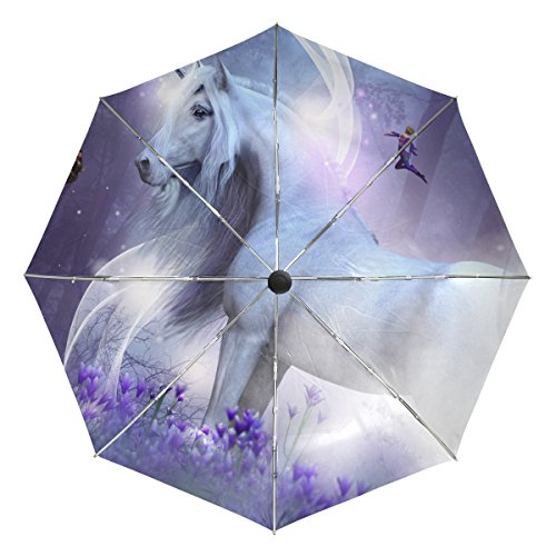 BAIHUISHOP Unicorn Fairies Magic Sparkles Windproof Rain Umbrellas Auto Open Close 3 Folding Strong Durable Compact Travel Umbrella Uv Protection Portable Lightweight Easy Carrying - Sparkle Taffeta