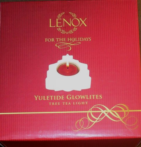 (LENOX Porcelain Yuletide Glowlites Christmas Tree Tea Light Candle NIB!)