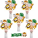 28 Pieces Jungle Animal Party Decorations - Jungle Animals Centerpiece Sticks Animals Cutouts for Baby Shower or Birthday Party Centerpiece Sticks - Table Toppers