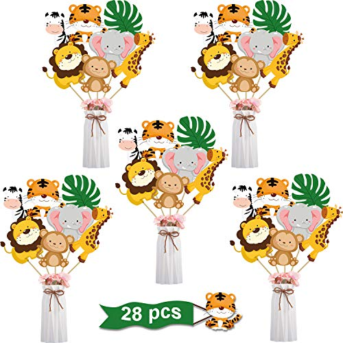 Animal Themed Baby Shower Ideas (28 Pieces Jungle Animal Party Decorations - Jungle Animals Centerpiece Sticks Animals Cutouts for Baby Shower or Birthday Party Centerpiece Sticks - Table)