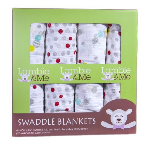Cheap Lambie & Me Baby Swaddle Blankets | Organic Muslin Cotton | Caterpillar & Dots, 4 Count
