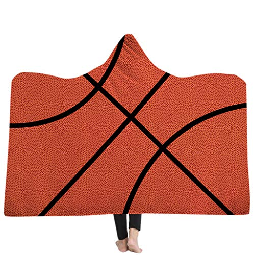 Hooded Basketball (Horoshop Oversized Soccer Pattern Hooded Sherpa Blanket Soft American Football Fans Cloak with Hood,150x200cm (Basketball))