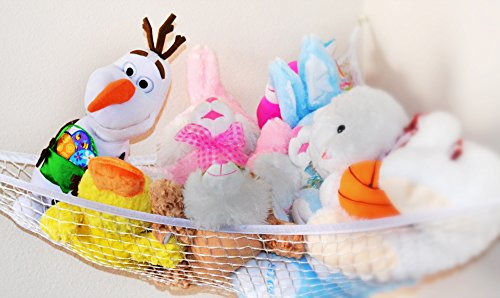 Stuffed Animal Toy Hammock - Best for keeping rooms clean, organized and clutter-free - Comes with BONUS FREE E-Book, Toy Organizer Storage Net is Durable and Easy to Install by Enovoe (Image #1)